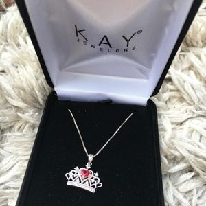 Stunning Crown Necklace with Real Ruby